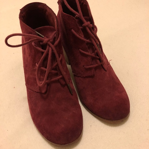 d2e1ca1fcdb Toms oxblood burnished suede lunata lace up bootie.  M 5bb1abc6c89e1de66267a08c
